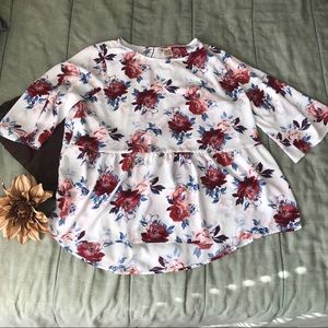 Floral Peplume Blouse